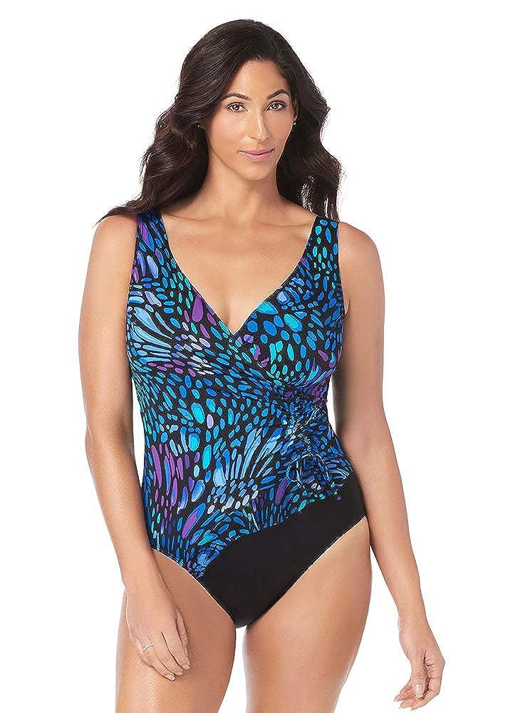 a4634707c6 Longitude Women s Swimwear Sunshower Mesh Ruffle Surplice V-Neckline Tummy  Control Long Torso One Piece Swimsuit at Amazon Women s Clothing store