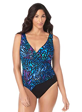 Longitude Women s Swimwear Sunshower Mesh Ruffle Surplice V-Neckline Tummy  Control Long Torso One Piece 18936d0a9f