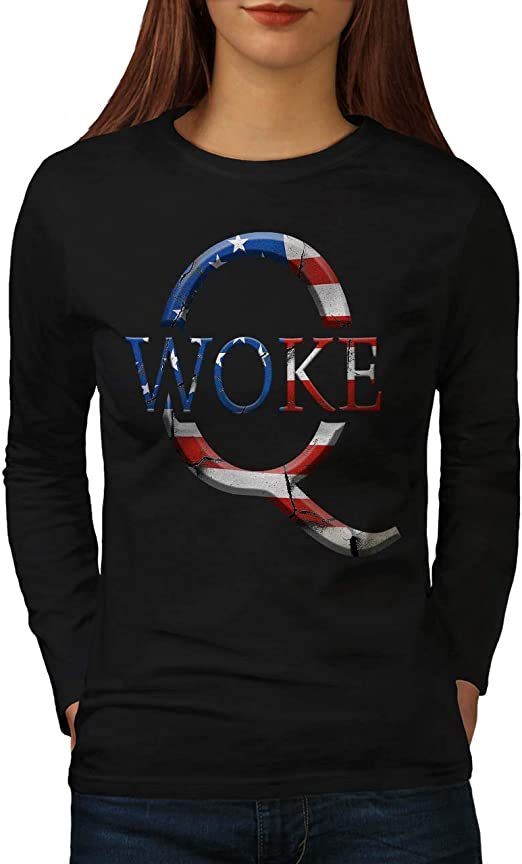Wellcoda Qanon Woke Mens Long Sleeve T-shirt Conspiracy Graphic Design