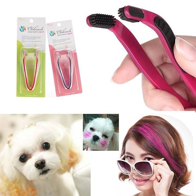 2PCS Dog Hair Coloring Tool Hair Bleach Pet Hair Styling Comb Highlight Hair Dye Brush D.I.Y.