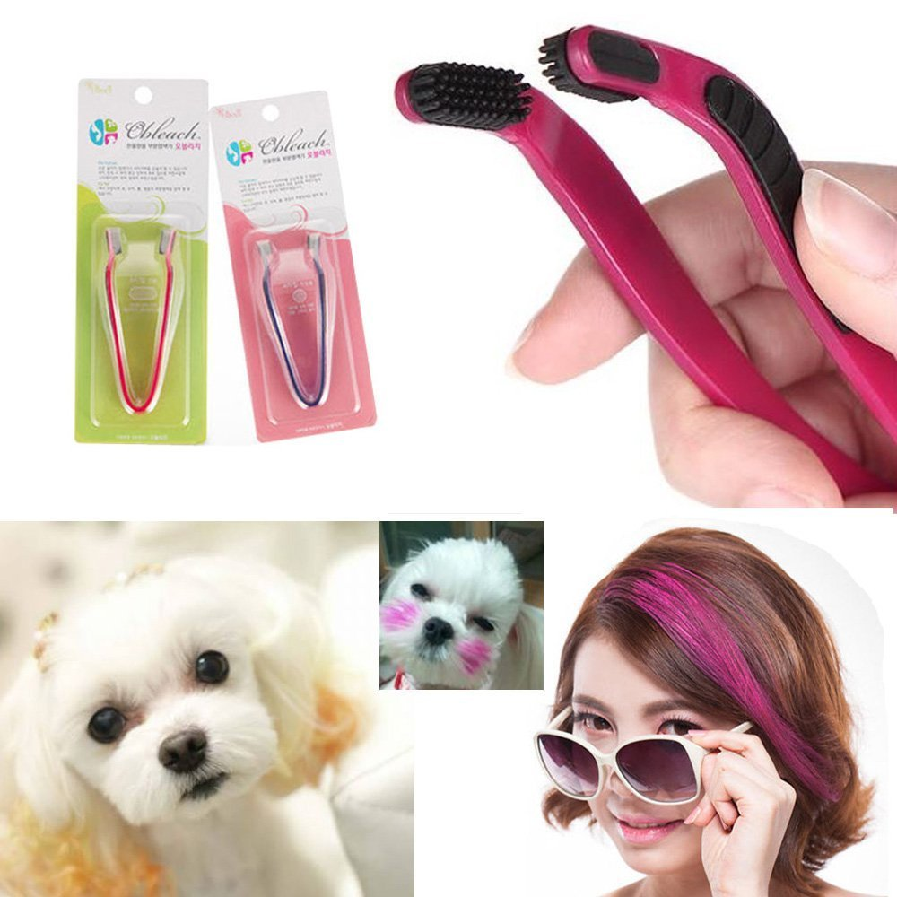 2PCS Dog Hair Coloring Tool Hair Bleach Pet Hair Styling Comb Highlight Hair Dye Brush D.I.Y. by Oh!