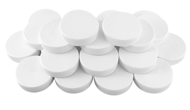 White Plastic Standard Mason Jar Plastic Lids-24 Lids; Regular Mouth Storage Caps (24-Pack)