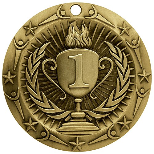 1st Place Gold World Class Die Cast Medal with Red,
