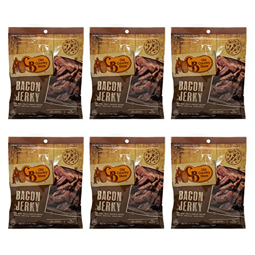 CB Old Country Store Hickory Smoked Bacon Jerky, 30% Less Fat than Beef Jerky, 6 pack
