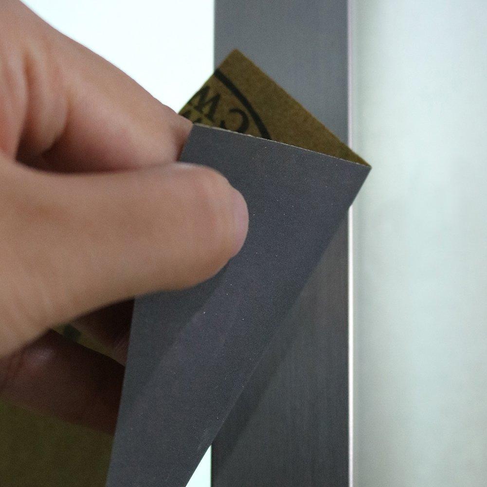 de 9x3.6 pulgadas para lustramuebles de madera LANHU 15 Pcs de Papel de Lija,100 Grano Surtido Papel Lija metal de lijado y abrillantar coche