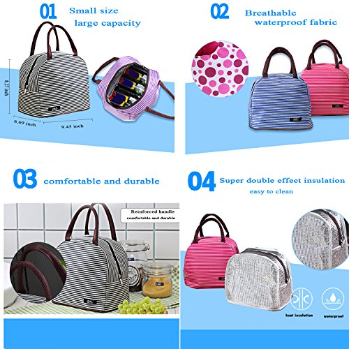 QLONG Insulated Foldable Cooler for Bag Coffee Bag Organizer Coffee Lunch Box Fashion Women Lunch Bag Tote Men tqEw57Y