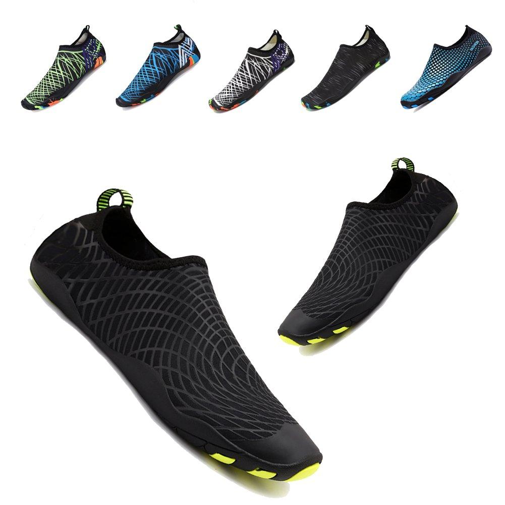 YALOX Men Women's Water Shoes Barefoot Quick-Dry Aqua Shoes Swimming,Walking,Yoga,Beach Sports,Surfing(Black Net,44EU)
