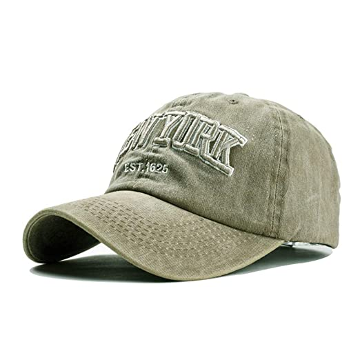 dbf1f05badd Amazon.com  New-York-Embroidered Washed-Cotton Distressed Dad-Hats-for-Men  - Vintage Unstructured Baseball Cap Unisex Adjustable (Army Green)  Clothing