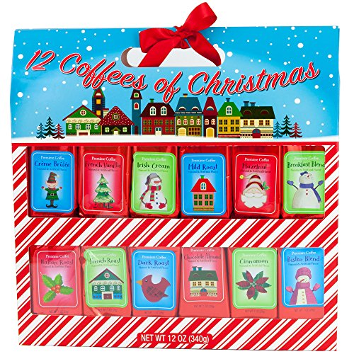 Holiday 12 Gourmet Coffee Of Christmas | Creme Brulee Vanilla Irish Cream Mild Roast Hazelnut Breakfast Blend Italian French Dark Chocolate Almond Cinnamon Bistro | Sampler Variety Gift Set (Coffee)