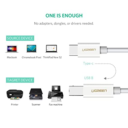 UGREEN USB C Printer Cable, USB Type C to USB 2.0 Type B Printer Scanner Cable Cord High Speed for Brother, HP, Canon, Lexmark, Epson, Dell, Xerox, ...
