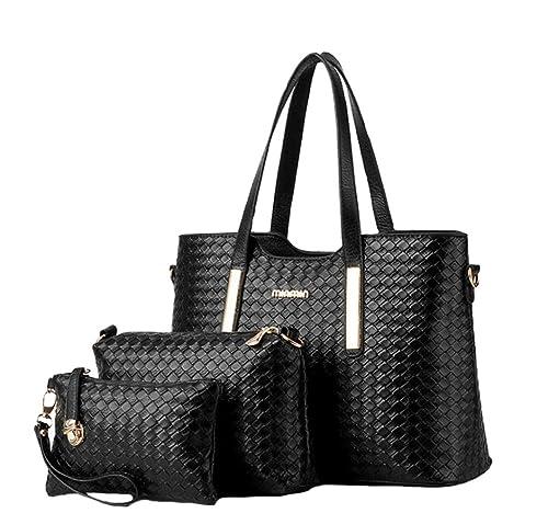 Amazon.com  Women 3 Piece Tote Bag Pu Leather Weave Handbag Shoulder Purse  Bags  Shoes ef53e497ef0bb