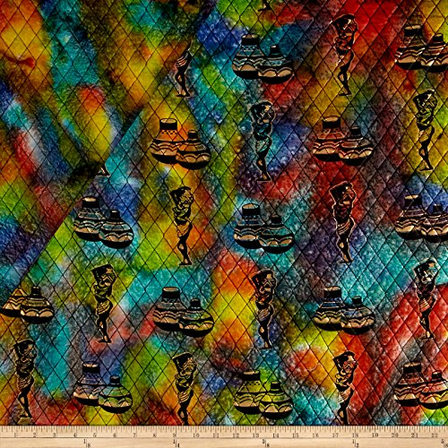 - Textile Creations Double Face Quilted Indian Batik African Ladies & Pots Fabric by The Yard, Metallic/Multi