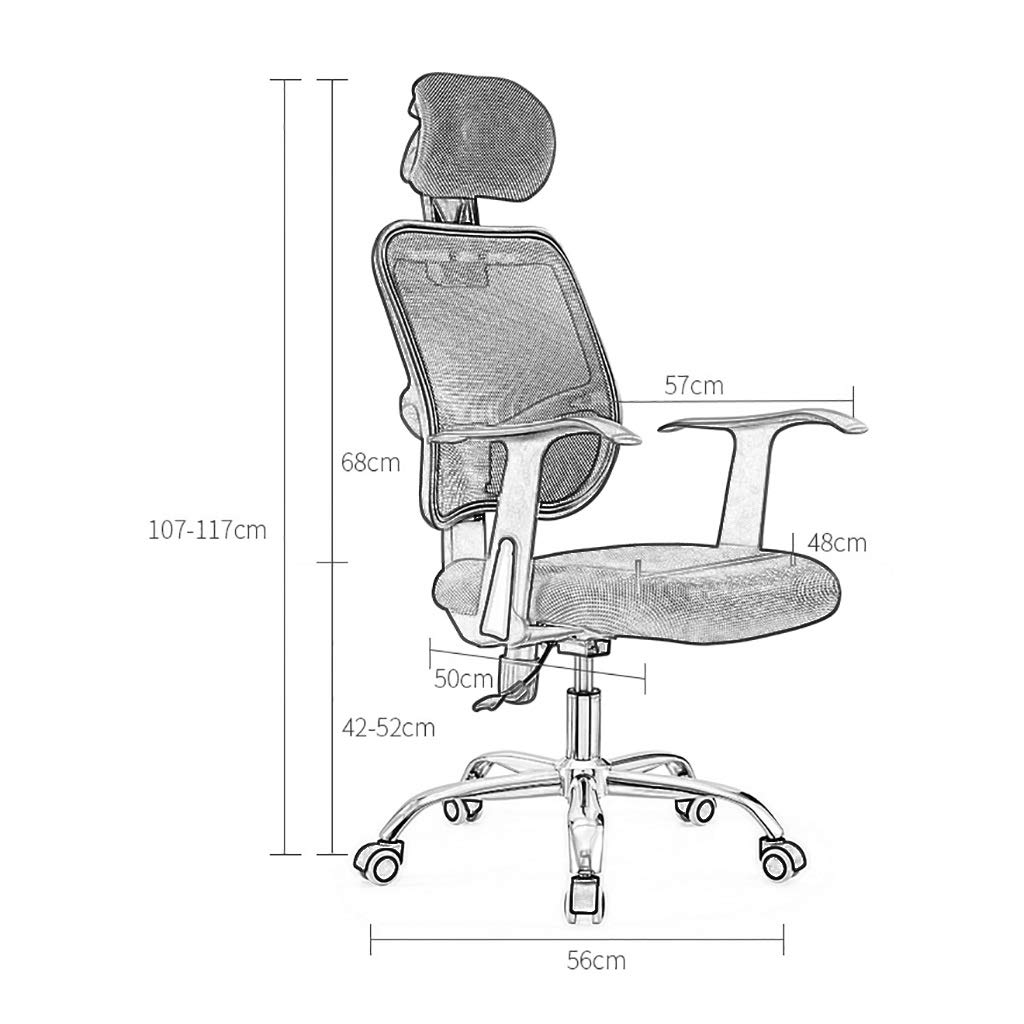 Stol kontorsstol skrivbordsstol kontorsstol nät skrivbordsstolar med justerbara armstöd och ryggstöd, justerbart nackstöd och ryggstöd, fyra färger Grått gRÖN