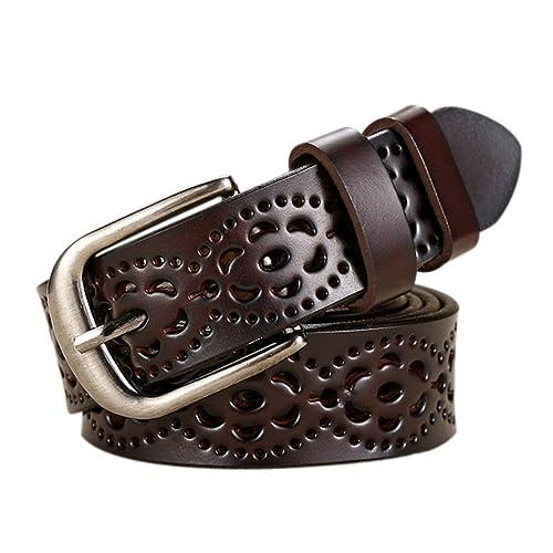iShine Vintage Donna Nero Cintura in Pelle Hollow Out Floreale con Metallo Fibbia