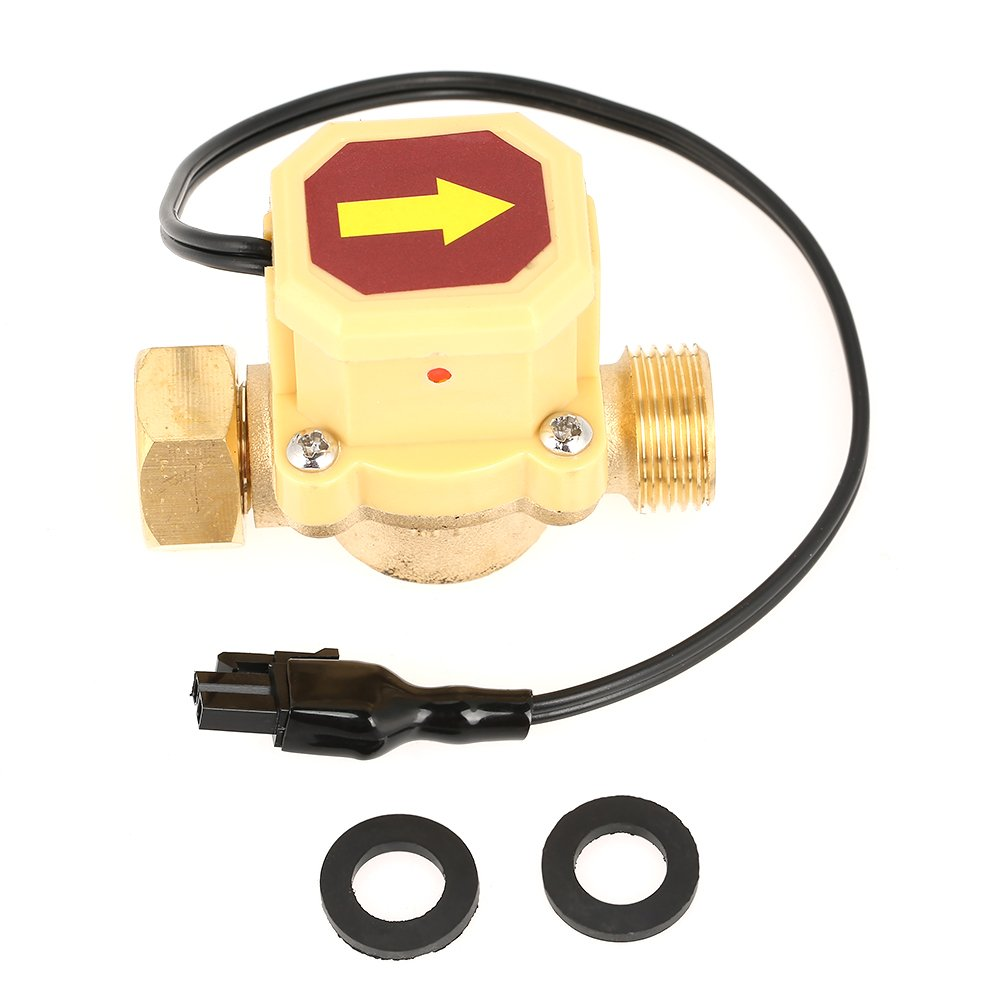 1pc Brass Pump Pressure Magnetic Water Flow Control Sensor Switch for Shower Low Water Pressure Solar Heater Water Circulation , G 1/2 Female Male Thread Walfront