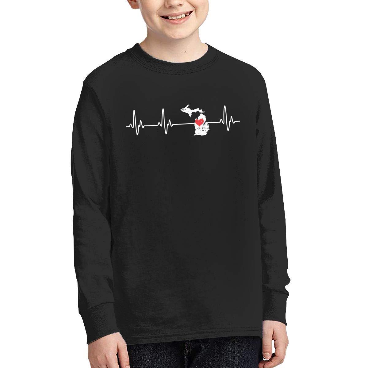 Teenagers Teen Girl Michigan Heartbeat Printed Long Sleeve 100/% Cotton Tee Shirt