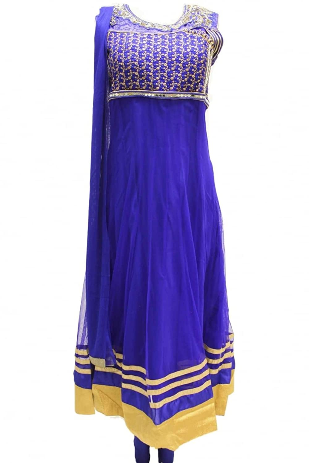 CSX1168 Royal Blue and Gold Churidar Suit Designer Indian Bollywood Chudidar