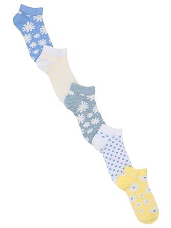 c1ef6e75f M Co Girls Cotton Blend Blue Yellow Daisy Print Trainer Socks Five Pack   Amazon.co.uk  Clothing