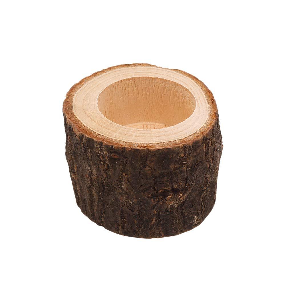 SUPVOX Portacandele in legno tronchi di legno decorativi mini Succulente Vaso Fioriera M