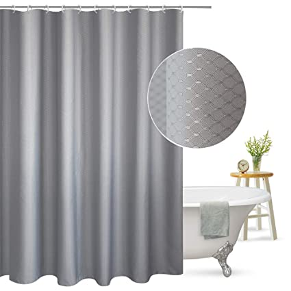 Aoohome Extra Long Shower Curtain Fabric Bathroom Waffle Weave Pattern With Weighted Hem Heavy