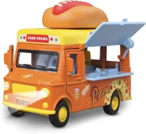 Alloy Toy Cars - Creative Decorative Models of Car Food Trucks with Sound and Light, for Children Girls and Boys.(Orange)
