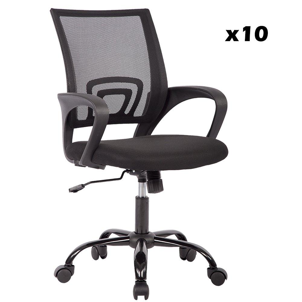 10PC Mid Back Mesh Ergonomic Computer Desk Office Chair