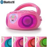 Lauson Radio CD Bluetooth | USB | Lecteur CD Portable pour Enfants | Lumière LED Effet Disco | AM/FM | CP453 (Rosa)
