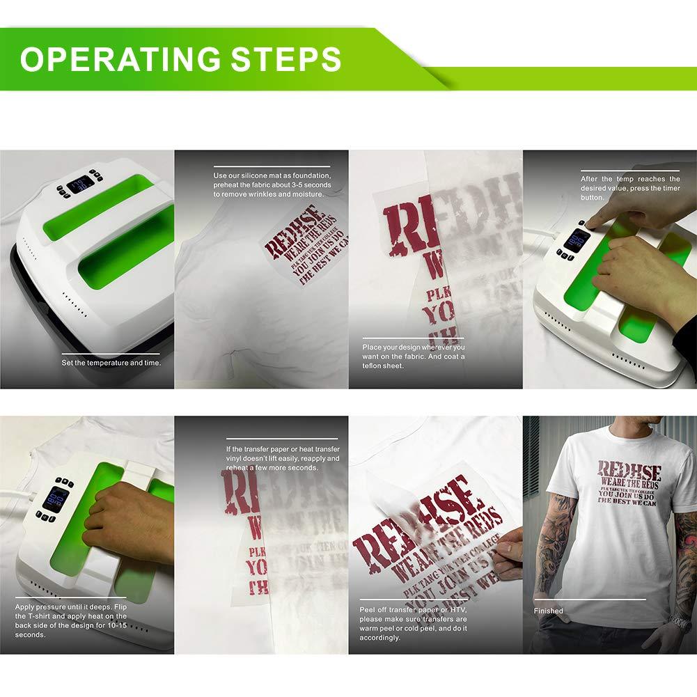 Heat Press Machine Portable 9'' X 9'' UOPress Sublimation T-Shirt Shirt  Press Printing Machine Multifunction Transfer Iron-on Machine Professional