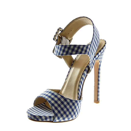 3ef8095187a2d7 Angkorly - Chaussure Mode Sandale Escarpin lanière Cheville Stiletto Femme  Vichy lanière Boucle Talon Haut Aiguille 13 CM: Amazon.fr: Chaussures et  Sacs