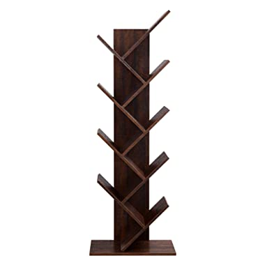 VASAGLE 8-Shelf Wooden Tree Bookshelf, Bookcase Display Holder Organizer, Storage for Books, Movies, Video Games, and CDs, Walnut Color ULBC11BY