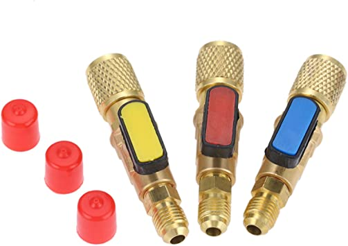 3 Pack R134A Angled Compact Shut-Off Ball Valve Adapter 3 Colors 1//4 SAE Thread Fits for HVAC Air Conditioning Refrigerant R134A R12 R22 R502 Charging Hoses Air Condition Refrigerant Tools
