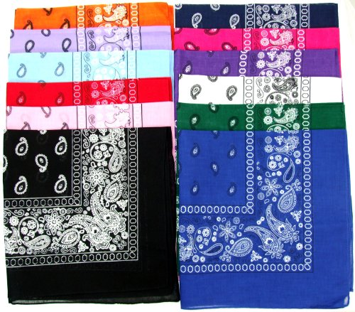Novelty Bandanas Paisley Cotton Bandanas (12 Colors Assorted, 22 X 22 in)