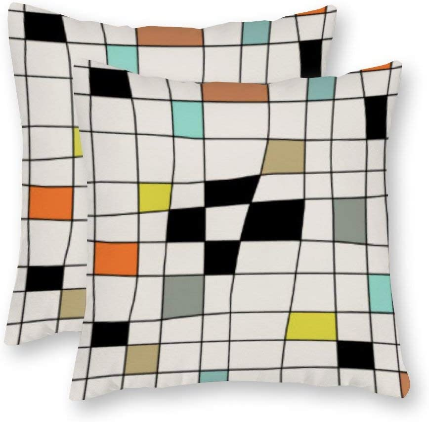 Yilooom Pack of 2, Canvas Mid Century Modern Warped Tiles Decorative Square Throw Pillow Covers Set Cushion Case for Couch Sofa Home Decoration 12x12 Inch