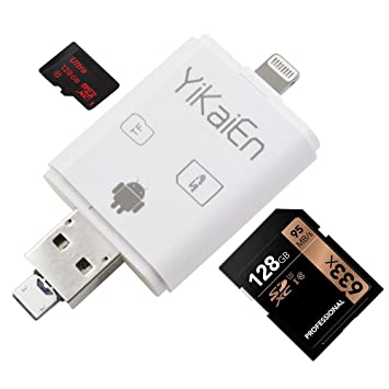 YiKaiEn iReader USB SDHC SDXC Micro SD OTG Card Reader Support Photo Scrolling Through and Thumbnail Pictures For IOS iPhone iPad & MAC PC Max Support ...