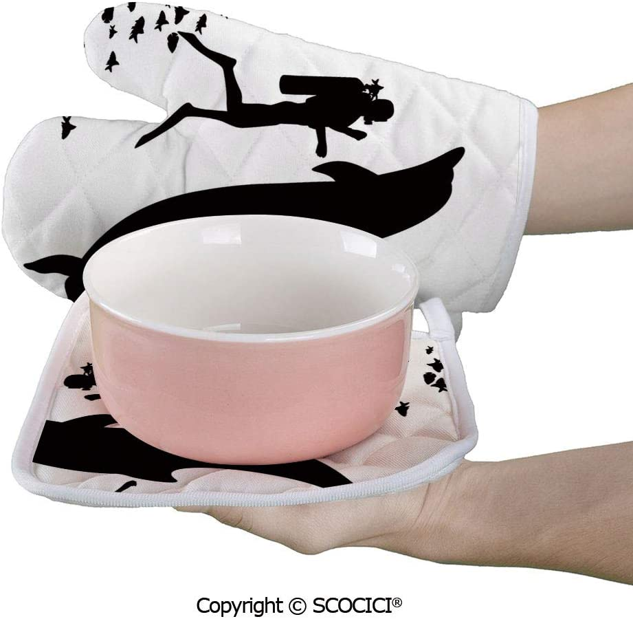 SCOCICI Oven Mitts Glove - Two Scuba Divers and Giant Fish Silhouette Swimming Close to The Reef Heat Resistant, Handle Hot Oven Cooking Items Safely