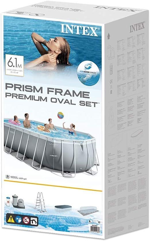 Intex 26798NP Piscina desmontable ovalada, con depuradora, 610 x ...