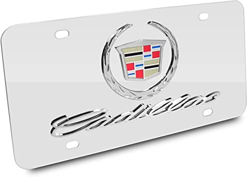 2PCS Front /& Back NEW 3D CADILLAC ESCALADE Stainless Steel License Plate Frame