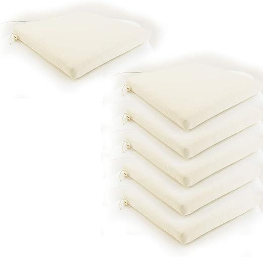 Edenjardi Pack 6 Cojines para sillas de jardín Color Beige | Tamaño 44x44x5 cm | Repelente al Agua | Desenfundable | Portes Gratis: Amazon.es: Hogar