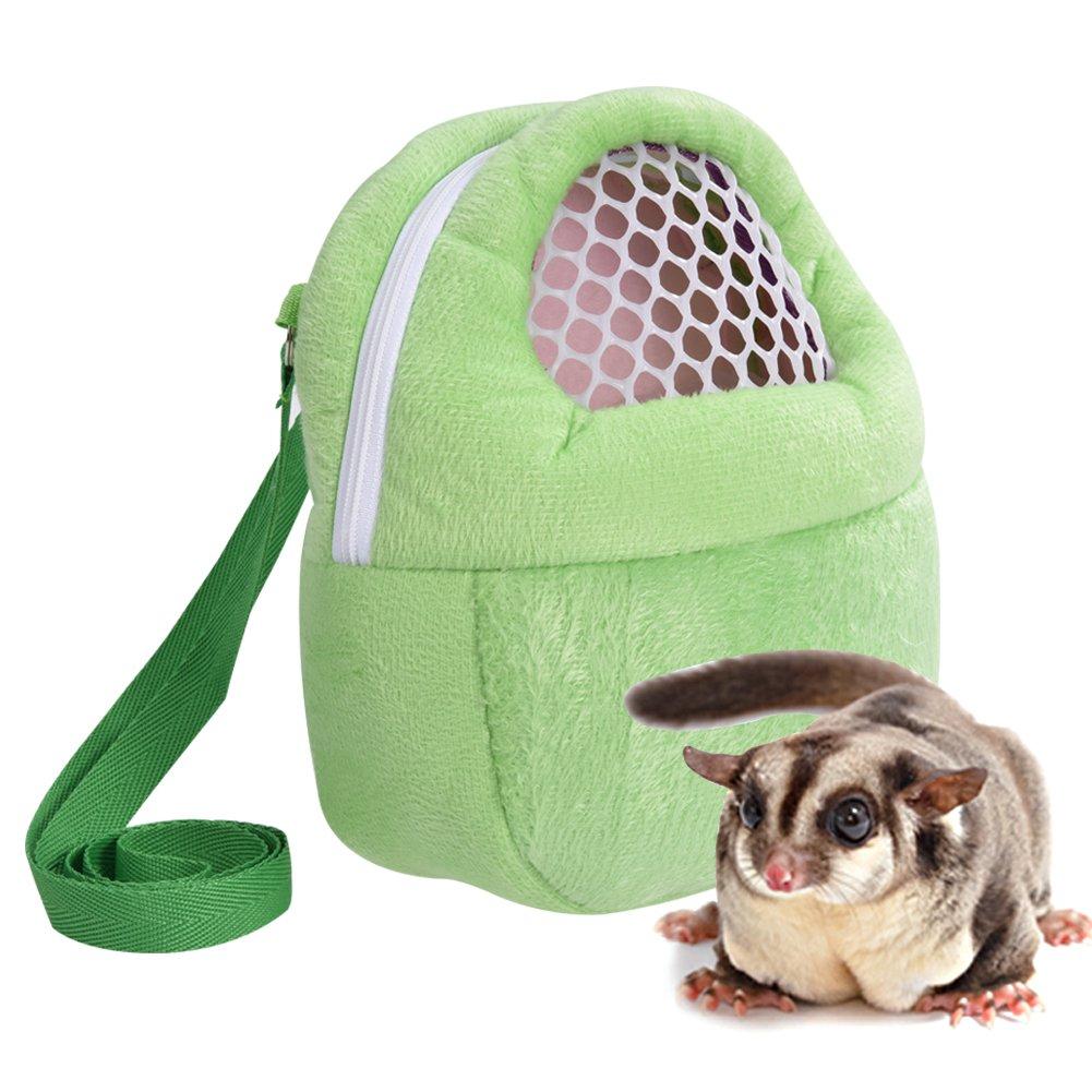 Yosoo 1 PCS Portable White Mesh African Hedgehog Hamster Breathable Pet dog Carrier Bags Handbags Puppy Cat Travel Backpack (M, White Mesh - Green)