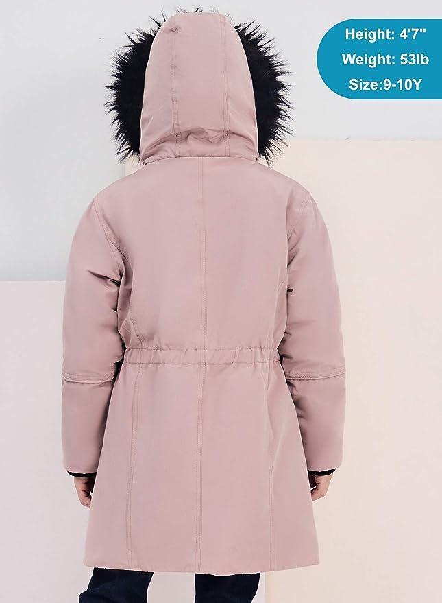 SOLOCOTE Girls Winter Coats Heavyweight Mediun Length Warm Jackets Down-Like Cotton Wadding Outwear 3-14Y