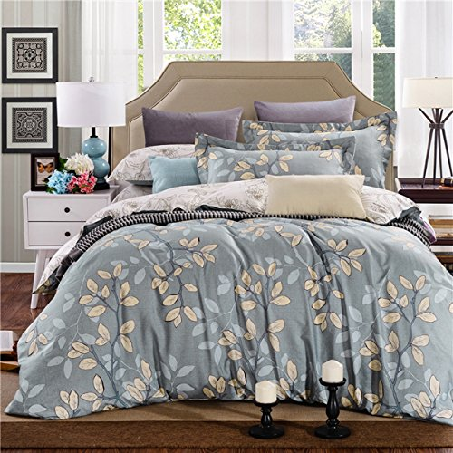 CASA 100% Cotton Bedding Leaves Duvet Cover Set & Flat sheet,4 Piece,Queen