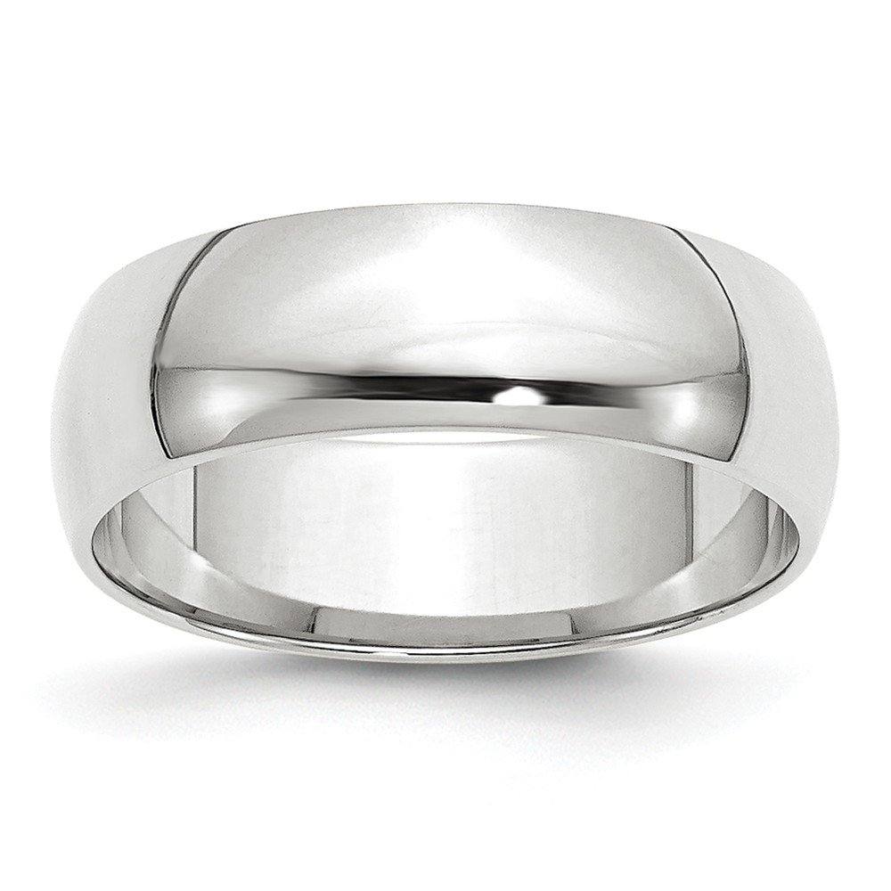 Solid 10k White Gold 6 mm Rounded Wedding Band Ring