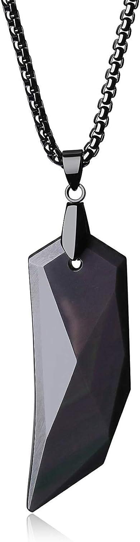 COAI Collar de Acero con Colgante Punta de Flecha de Obsidiana