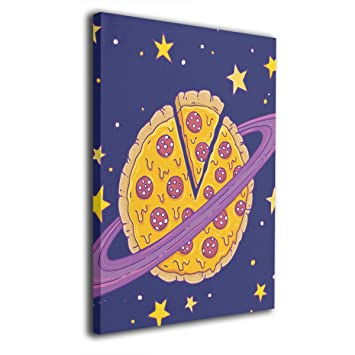 Amazon Com Zhwerq Cartoon Pizza Planet Modern Giclee Canvas Wall