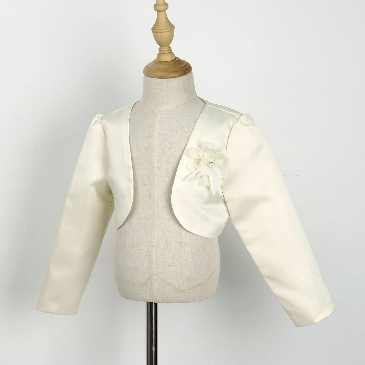 Freebily White Kids Girls Long Sleeves Bolero Jacket Shrug Short Cardigan Sweater Dress Cover Up