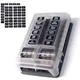 12-Way Fuse Block W/Negative Bus - JOYHO ATC/ATO Fuse Box with Ground, LED Light Indication & Protection Cover, Bolt Connect