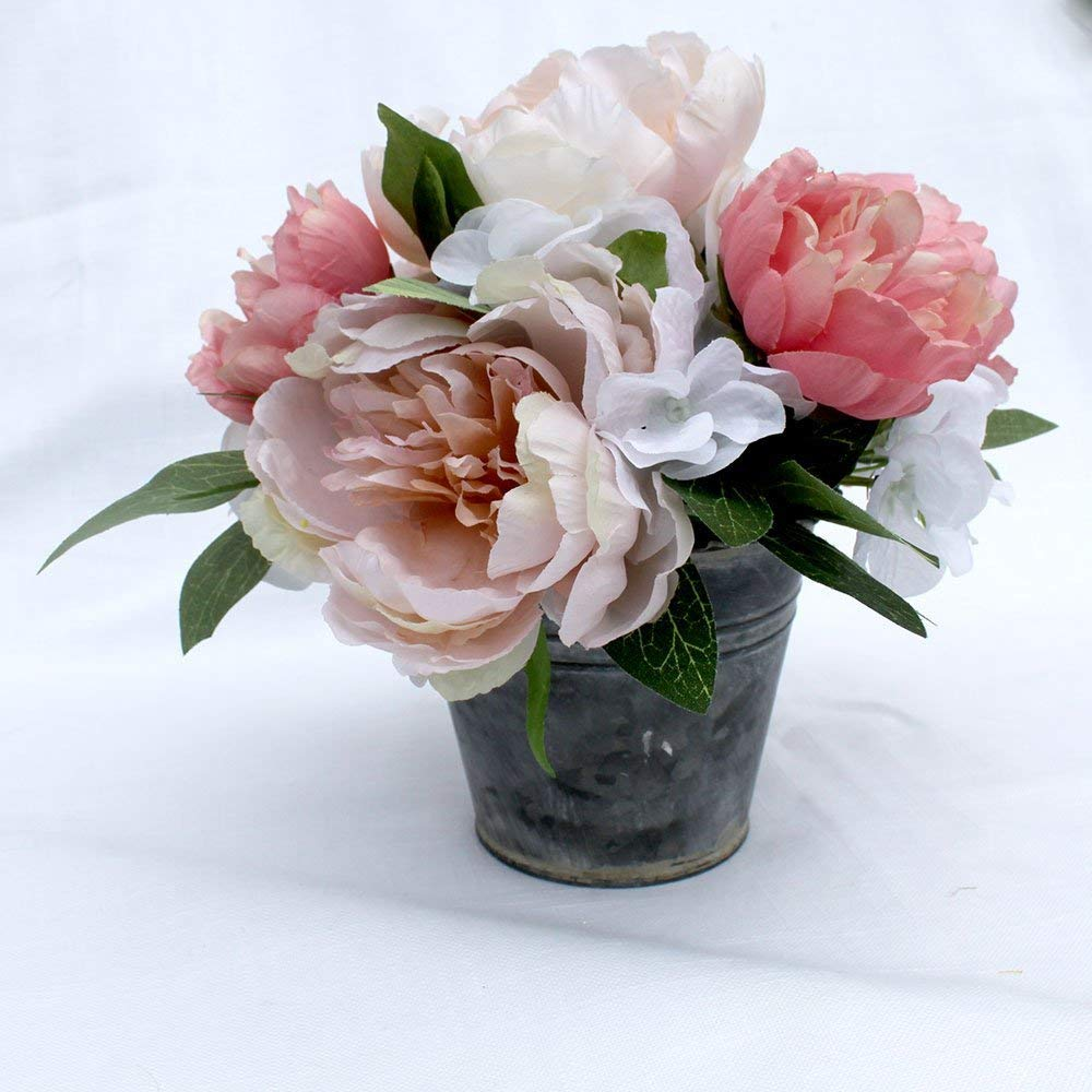 Amazon Com Peony Small Arrangement Spring Table Centerpiece Silk Flower Arrangement Mother S Day Gift Summer Flowers Home Decor Wedding Flowers Handmade