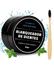 [60 gr] Blanqueador Dental Natural de Carbón Activado de Cascara de Coco, 100% Orgánico, Incluye Cepillo de Dientes Ecológicos Hechos a Base de Bambú, Sirve como Mascarilla Exfoliante, Quita manchas