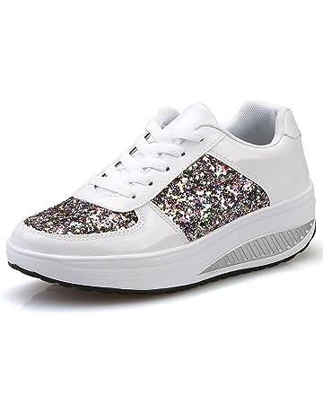 Zapatos Lentejuelas Deportes con Correa,Sonnena Zapatillas de Mujer con cuñas de Mujer con Lentejuelas