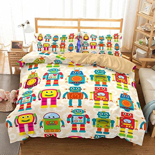 APJJQ Robot 3 Pieces Kids Boys Duvet Cover Twin Blue 100% Brushed Microfiber Cartoon Bedding Sets Duvet Cover for Teen Toddlers Zipper Closure 1 Duvet Cover 1 Pillowcase No Comforter (Robot Duvet Cover Twin)